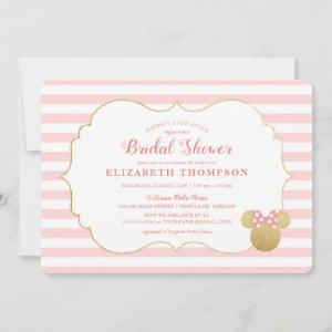 Minnie Mouse | Gold & Pink Striped Bridal Shower Invitation starting at 2.86