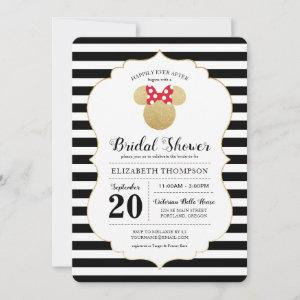 Minnie Mouse | Gold Striped Bridal Shower Invitation starting at 2.86