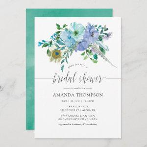 Mint and Blue Watercolor Boho Floral Bridal Shower Invitation starting at 2.51