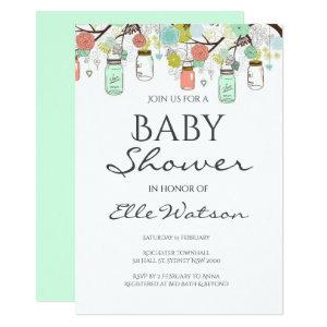 Mint and Coral Baby Shower Invitation starting at 2.51