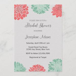Mint and Coral Bridal Shower Invitation starting at 2.51