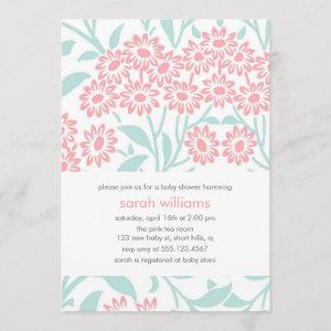 Mint and Coral Floral Damask Baby Shower Invitation starting at 2.66