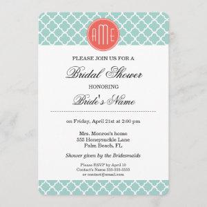 Mint and Coral Quatrefoil with Custom Monogram starting at 2.55
