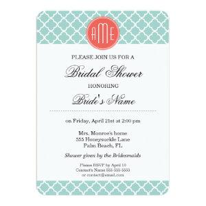 Mint and Coral Quatrefoil with Custom Monogram Invitation starting at 2.55