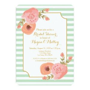 Mint Green and Coral Floral Invitation starting at 2.86