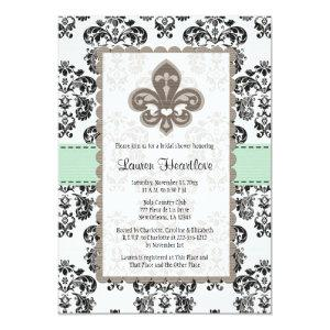 Mint Green Fleur de Lis Bridal Shower Invitations starting at 2.66