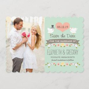 Mint Green Love Birds Wedding Save the Date Card starting at 2.87