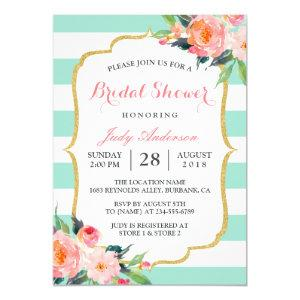 Mint Green Stripes | Floral Chic Bridal Shower Invitation starting at 2.30