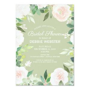 Mint Green Succulent Flower Wedding Bridal Shower Invitation starting at 2.51