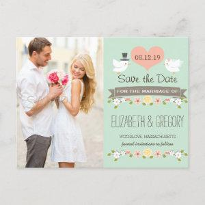 MINT LOVE BIRDS DOVE SAVE THE DATE ANNOUNCEMENT POSTCARD starting at 1.80