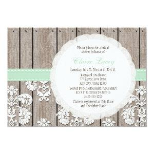 Mint Wood Lace Rustic Bridal Shower Invitations starting at 2.66