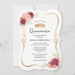 Mis Quince Burgundy Blush Gold Floral Quinceanera Invitation starting at 2.76