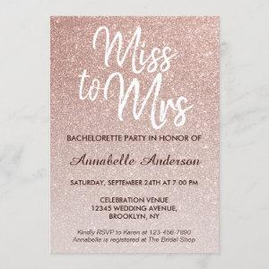 Miss to Mrs Glam Pink Rose Gold Bachelorette Party Invitation starting at 2.40