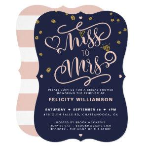 Miss To Mrs Pink Gold & Navy Stripe Bridal Shower Invitation starting at 2.80