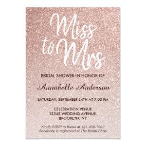 Miss to Mrs Pink Rose Gold Glitter Bridal Shower Invitation starting at 2.40