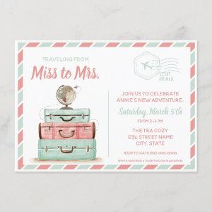 Miss to Mrs travel bridal shower coral mint Invitation starting at 2.20