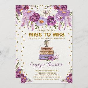 Miss to Mrs Travel Suitcase Purple Bridal Shower Invitation starting at 2.61