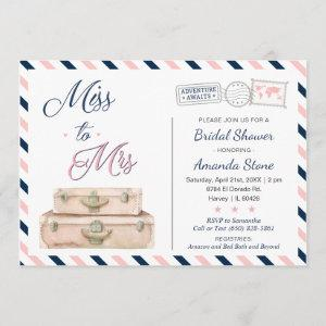 Miss To Mrs World Travel Bridal Shower Navy Pink Invitation starting at 2.51