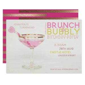 Modern 60th BRUNCH BUBBLY Invitation PINK GOLD starting at 2.51