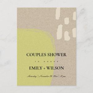 MODERN ABSTRACT KRAFT LIME GREEN COUPLES SHOWER INVITATION POSTCARD starting at 1.95