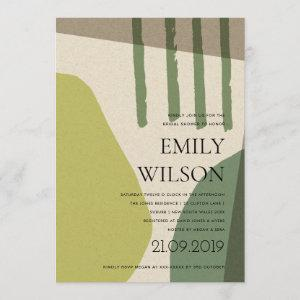 MODERN ABSTRACT LIME GREEN ARTISTIC BRIDAL SHOWER INVITATION starting at 2.65