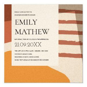 MODERN ABSTRACT RUST YELLOW ART COUPLES SHOWER INVITATION starting at 2.55