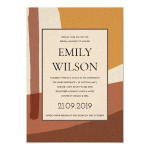MODERN ABSTRACT RUST YELLOW ARTISTIC BRIDAL SHOWER INVITATION starting at 2.65