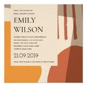 MODERN ABSTRACT RUST YELLOW ARTISTIC BRIDAL SHOWER INVITATION starting at 2.55