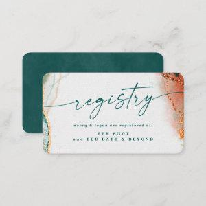 Modern Abstract Teal & Copper Wedding Registry  Enclosure Card starting at 0.36