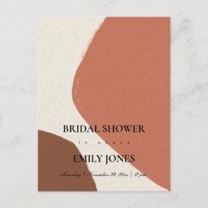 MODERN ABSTRACT TERRACOTTA RED BRIDAL SHOWER INVITATION POSTCARD starting at 1.95