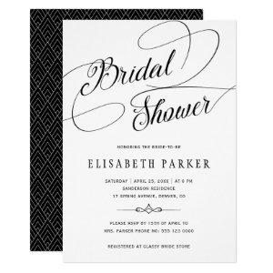 Modern black and white calligraphy bridal shower invitation starting at 2.55