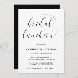 Modern Black and White Typography Bridal Luncheon Invitation starting at 2.51