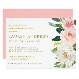 Modern Blush Chic Floral Gold Bridesmaid Luncheon Invitation starting at 2.45
