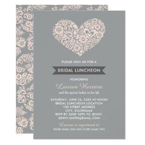 Modern Blush Floral Heart | Gray Bridal Luncheon Invitation starting at 2.51