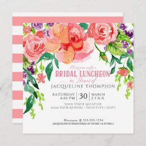 Modern Bridal Luncheon Floral Coral Pink Roses Invitation starting at 2.51