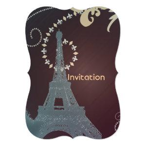 modern brown and slate blue paris eiffel tower invitation starting at 2.72