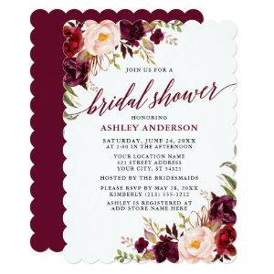 Modern Calligraphy Bridal Shower Burgundy Floral Invitation starting at 2.76