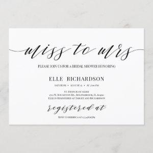 Modern calligraphy miss to mrs bridal shower invitation starting at 2.40