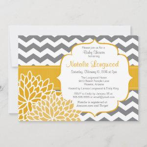 Modern Chevron Floral baby or bridal shower yellow Invitation starting at 2.77
