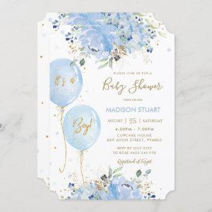 Modern Chic Blue Floral Balloons Boy Baby Shower Invitation starting at 2.65