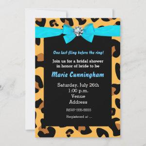 Modern Chic Leopard Print Aqua Blue Bow Party starting at 2.51