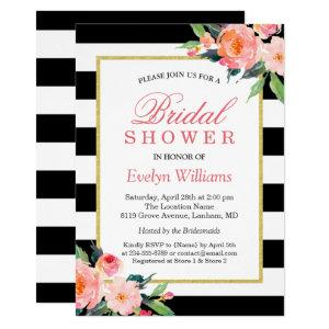 Modern Classic Black Stripes Floral Bridal Shower Invitation starting at 2.10