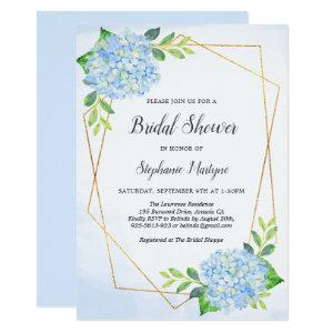 Modern Geometric Blue Hydrangea Bridal Shower Invitation starting at 2.15