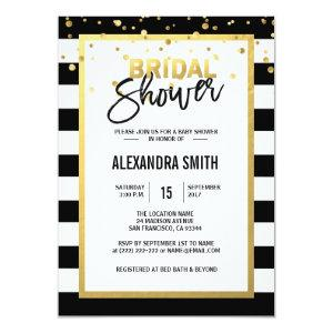 Modern Gold Black White Stripes Bridal Shower Invitation starting at 2.05