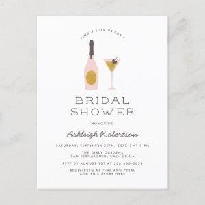 Modern Gold Glitter & Pink Cocktails Bridal Shower Invitation Postcard starting at 1.70