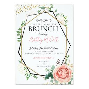Modern Gold Pink Geometric Bridal Shower Invite starting at 2.51