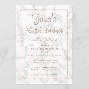 Modern Gray Marble with Rose Gold Bridal Luncheon Invitation starting at 2.51