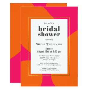Modern Hot Pink and Orange Abstract Bridal Shower Invitation starting at 2.51