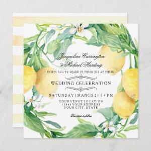 Modern Lemon Floral Flower Wreath Citrus Wedding Invitation starting at 2.51