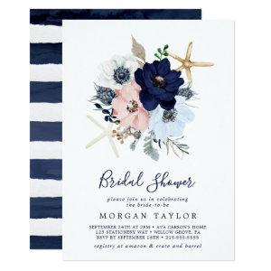 Modern Nautical | Floral Bridal Shower Invitation starting at 2.26